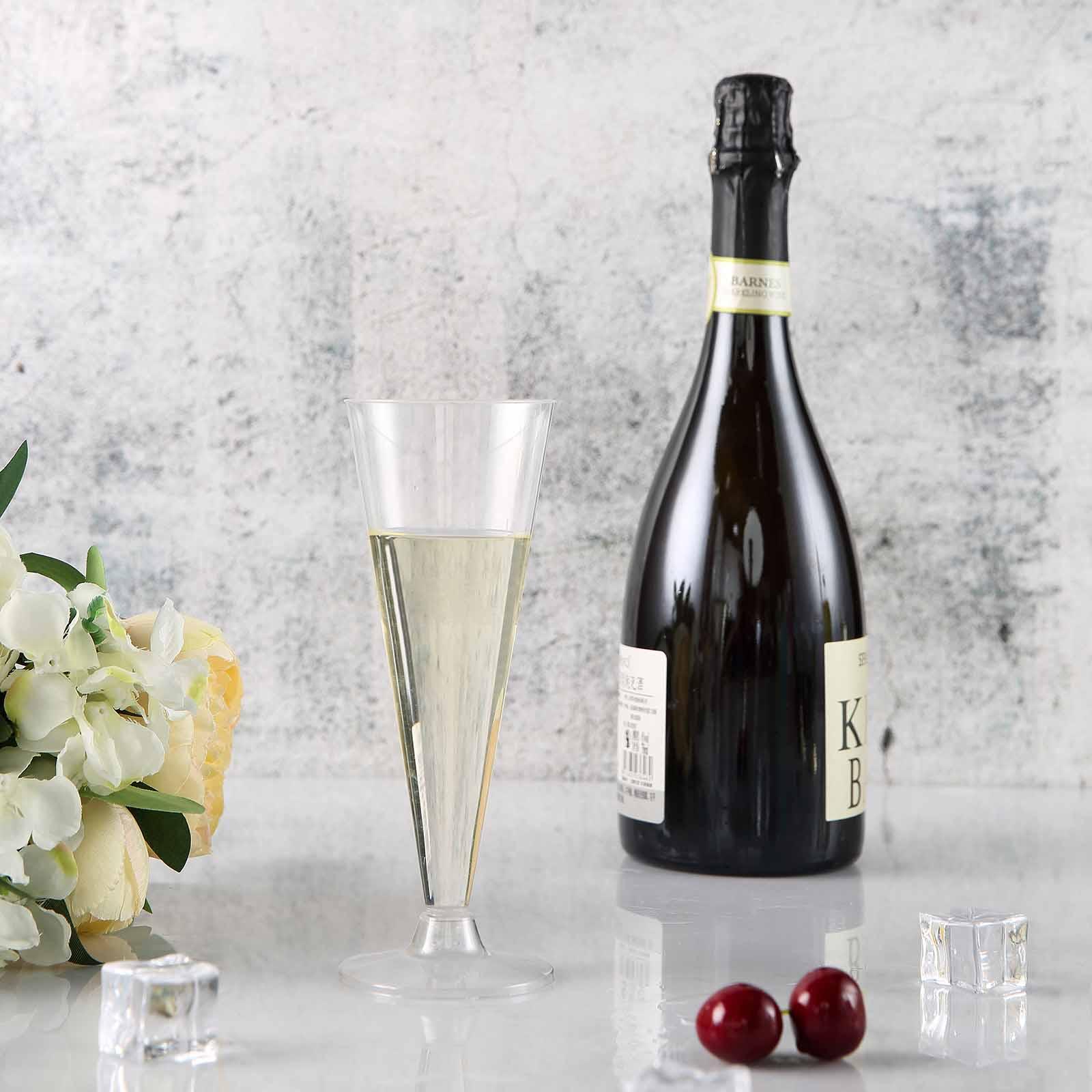 12 pcs 5 oz Plastic Blush Glittered Clear Champagne GLASSES Tableware Wedding