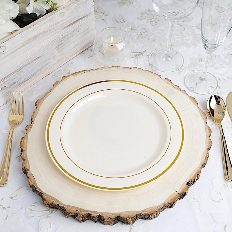 9-034-PLASTIC-PLATES-Round-TRIM-Party-Wedding- & 9