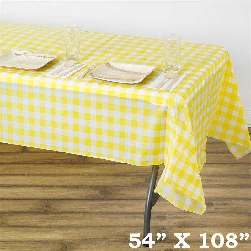 54 X 108 Quot Checkered Disposable Plastic Rectangular Table
