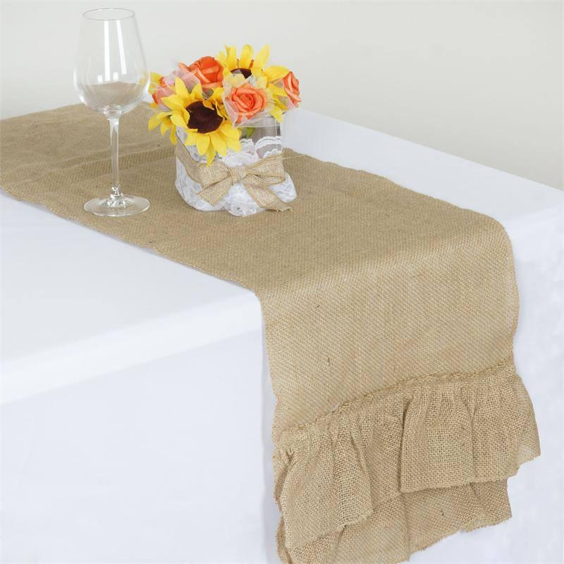 Burlap Table Runner 2 Pieces 14x108 inches Gray Natural Burlap Fabric Perfect for Idyllic Wedding Party Farmhouse Birthday Candy Table Decoration