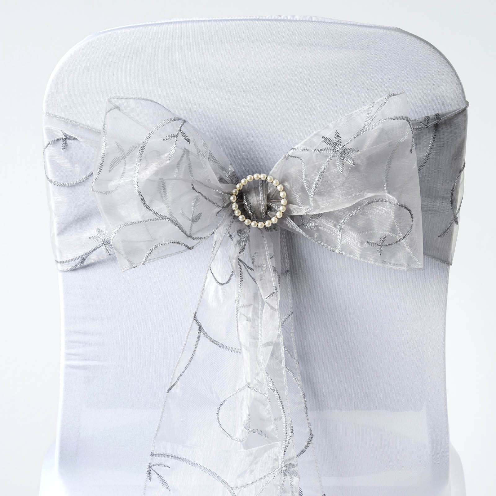 100 Embroidered Sheer Organza CHAIR SASHES BOWS Ties Wedding Party