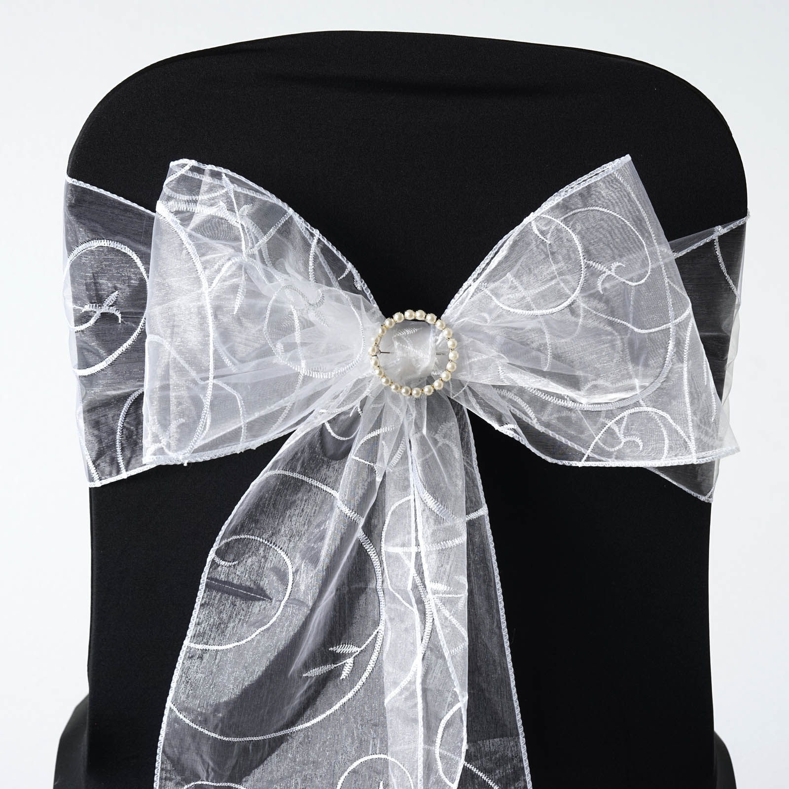 10 New Embroidered on Sheer Organza Chair Sash Bows Ties Wedding