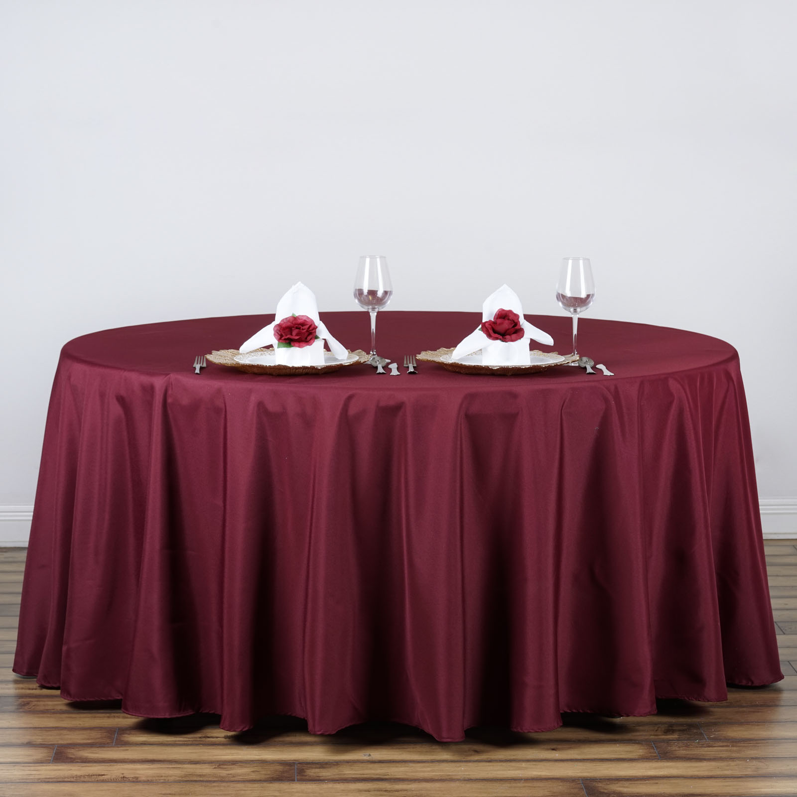 """Wedding Tablecloths: 132"""" Round Polyester Tablecloths For Wedding Party Linens"""