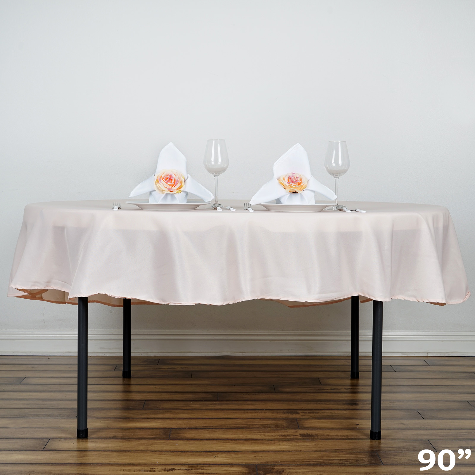 White round tablecloths cheap - 90 034 Round Polyester Tablecloth Wedding Party Table