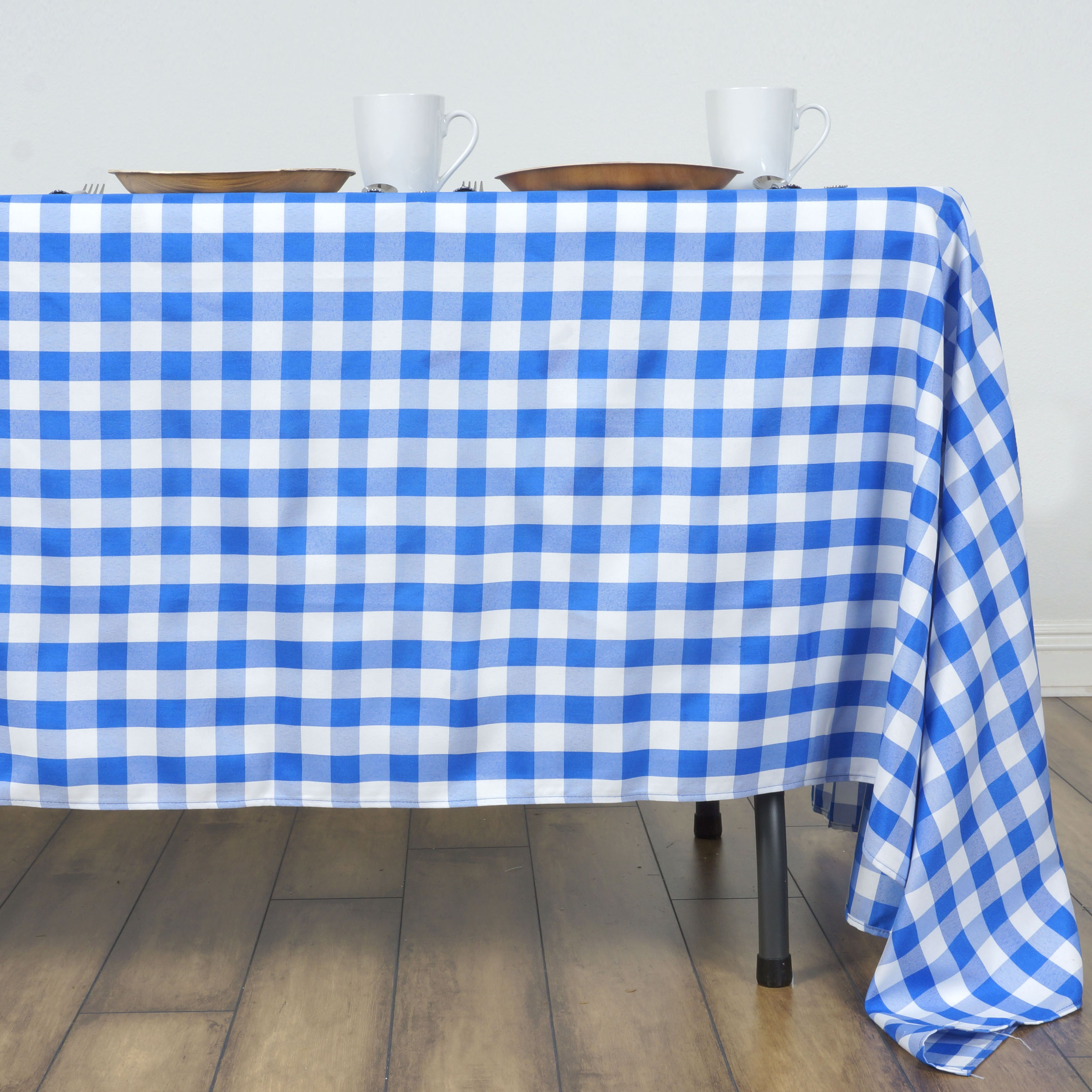 60x126 034 Checkered Gingham Tablecloth Polyester Rectangular Linens