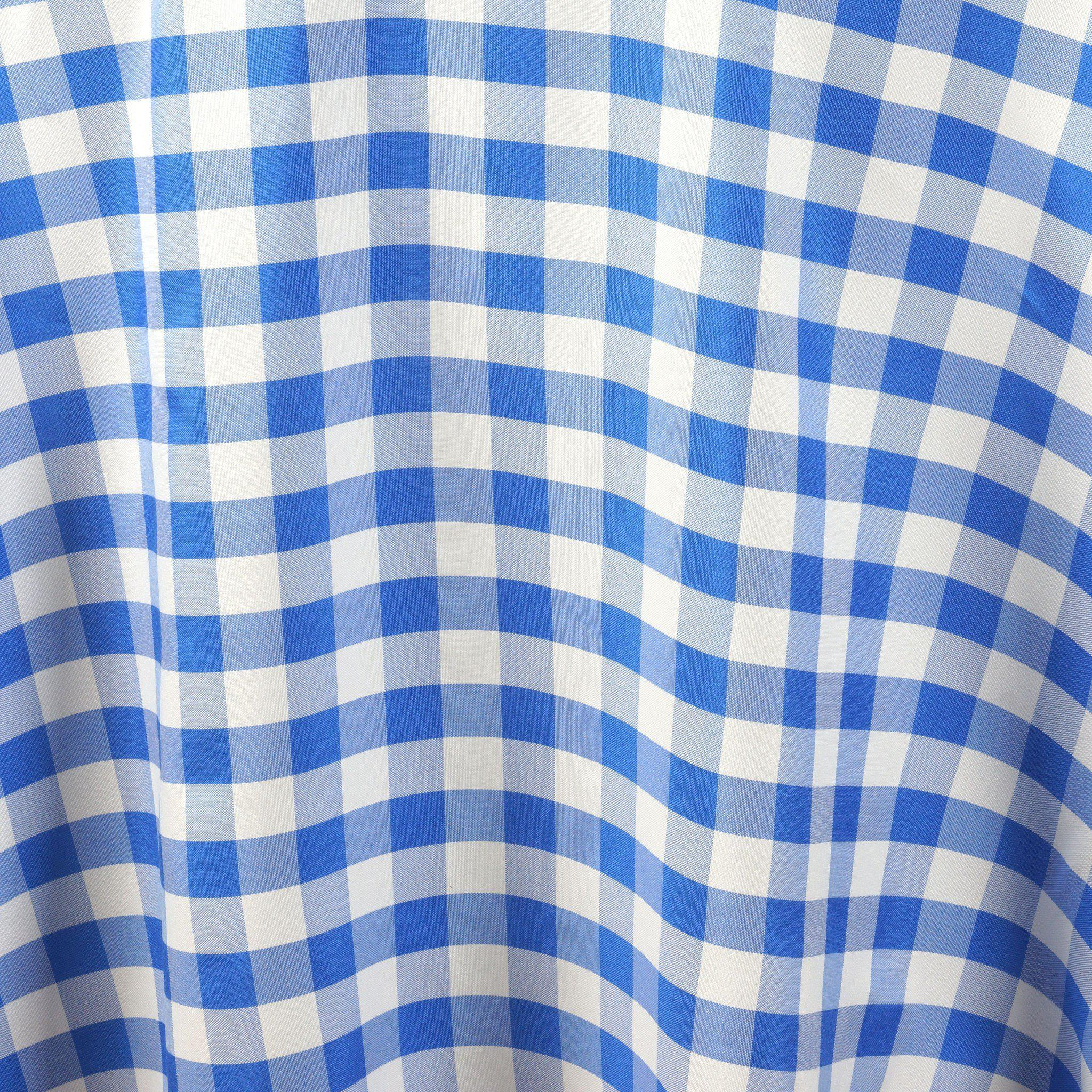Captivating 70 034 Checkered Gingham Tablecloth Polyester Round Linens