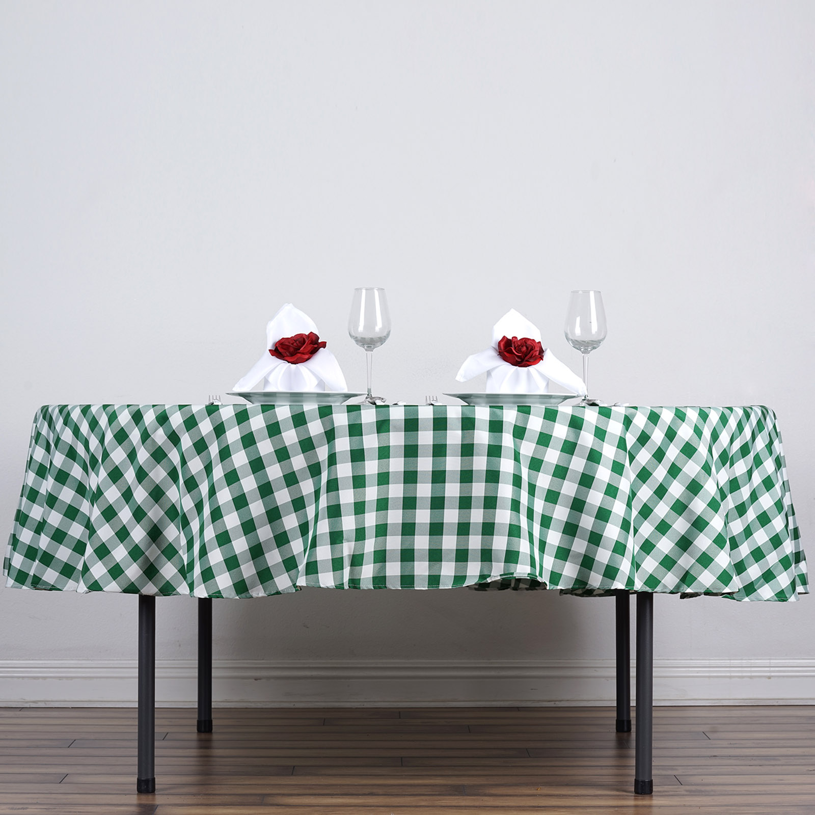Awesome 70 034 Checkered Gingham Tablecloth Polyester Round Linens