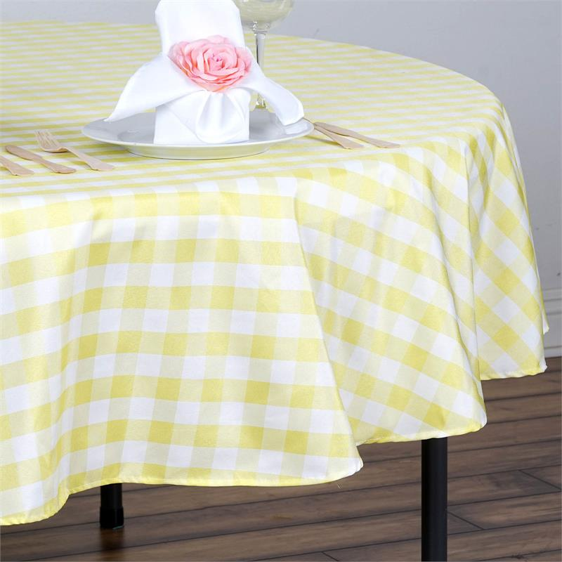 90 Quot Checkered Gingham Tablecloth Polyester Round Linens