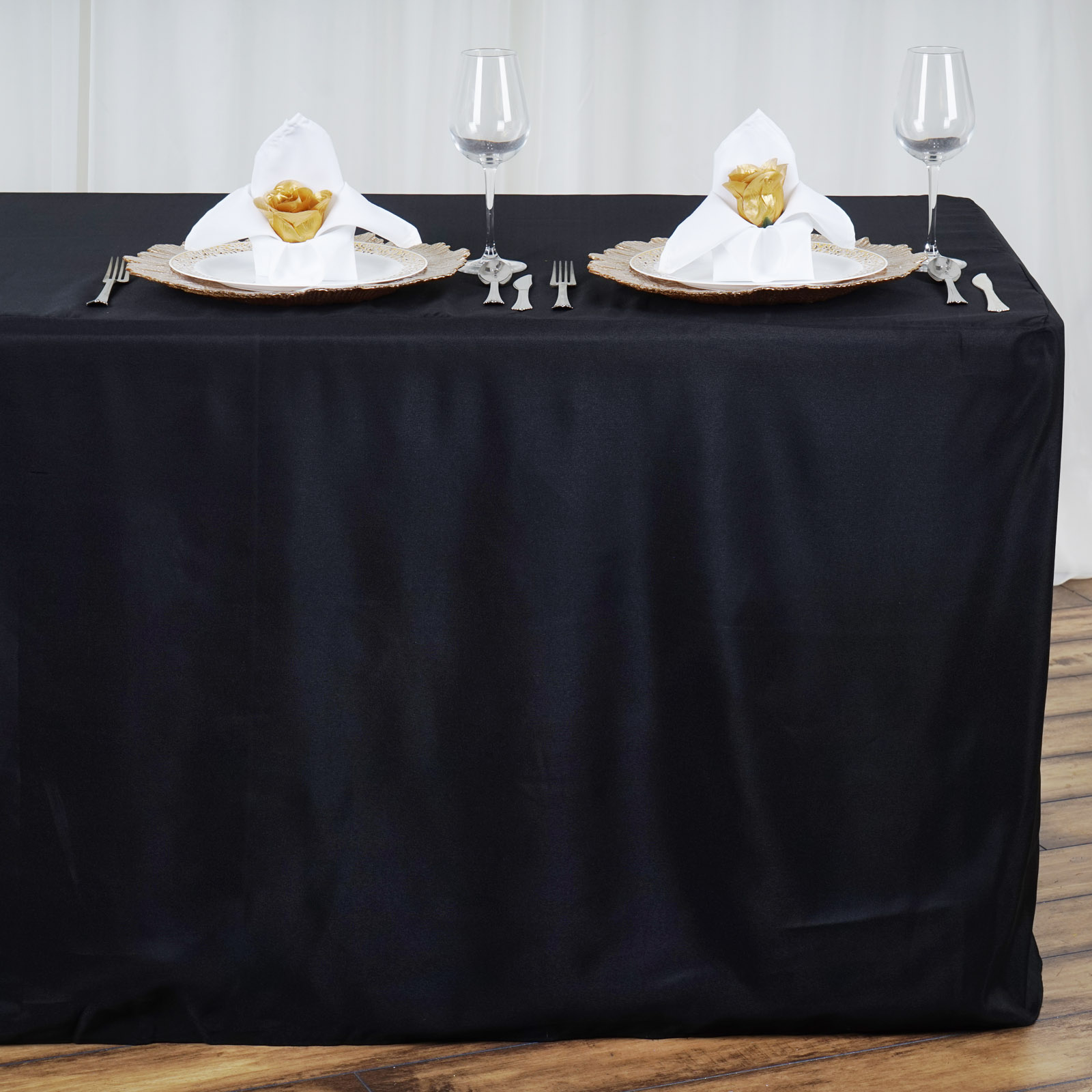 8 feet fitted polyester banquet tablecloth wedding table linens 96 long sale ebay. Black Bedroom Furniture Sets. Home Design Ideas