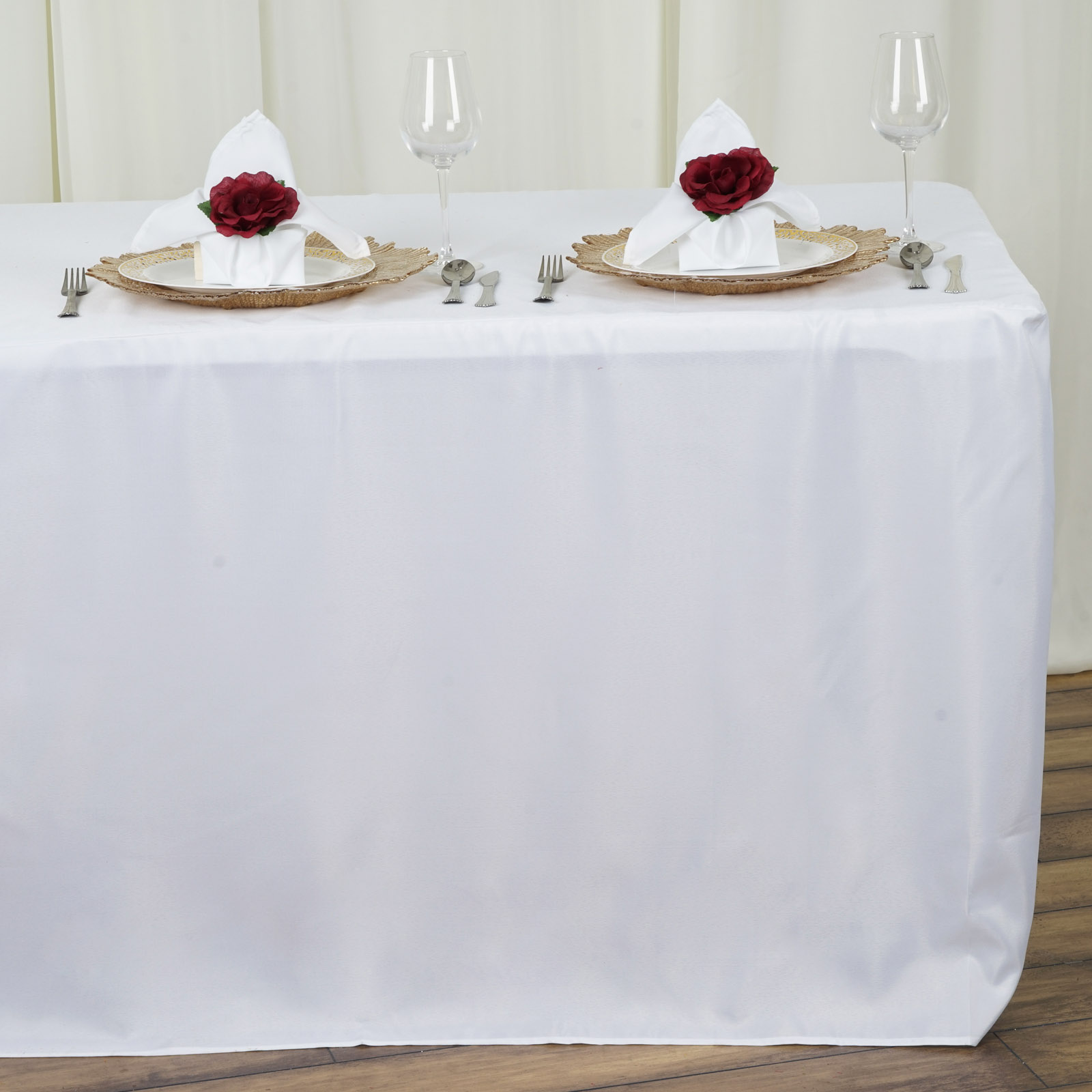 8 feet fitted polyester banquet tablecloth wedding table for 10 foot table cloths