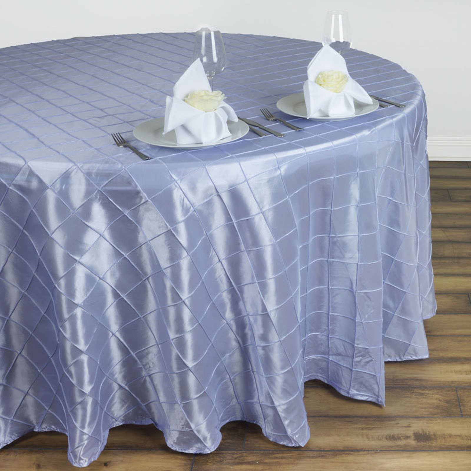 132 034 ROUND Pintuck Fancy TABLECLOTH Wedding Party
