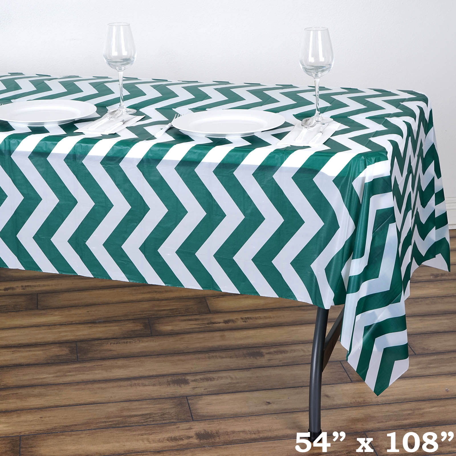 6 Pcs 54 X 108 Chevron Disposable Plastic Rectangular Table Covers