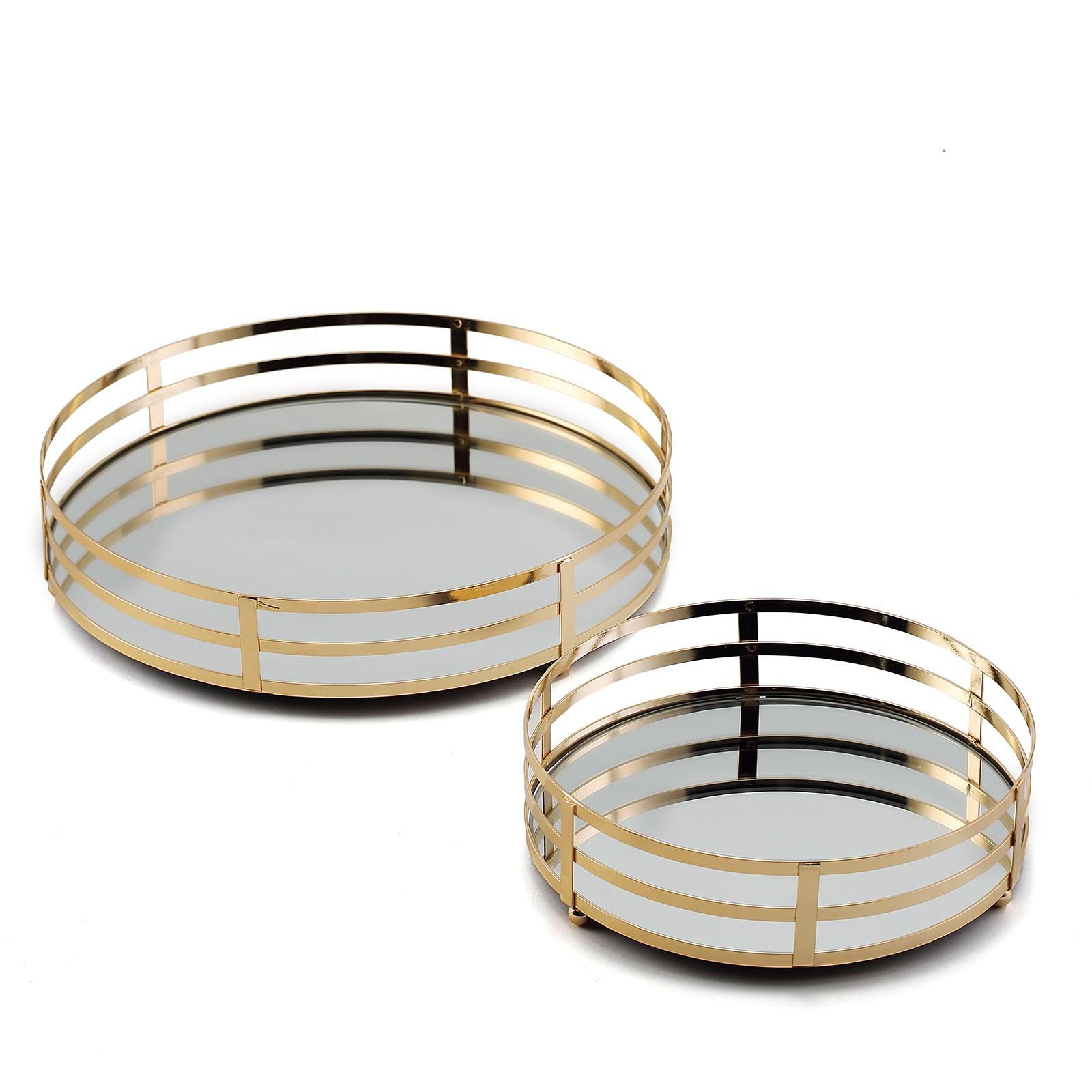2 Pcs Gold Metal Round Mirror Serving Trays Wedding Party Events Decorations Ebay