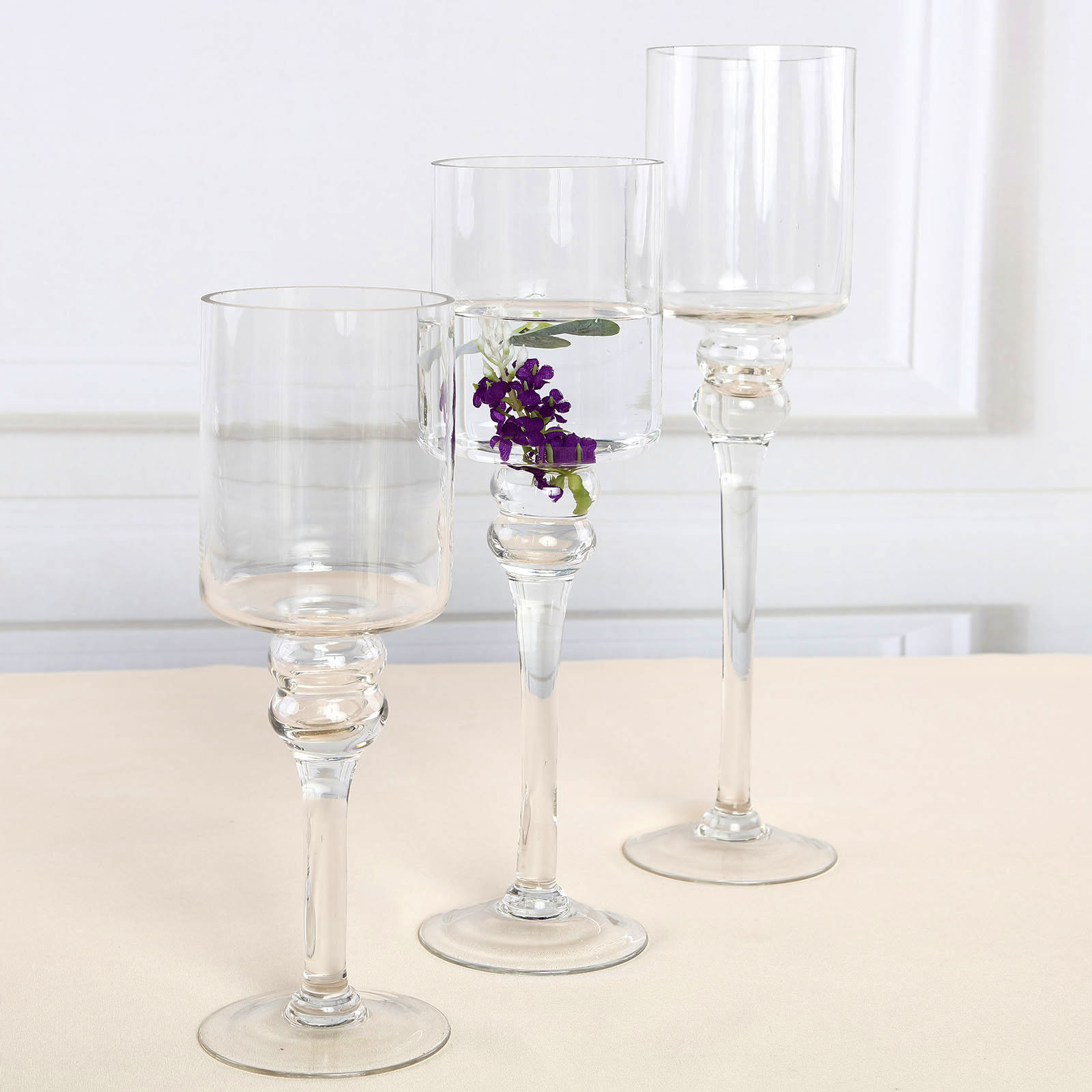 Clear Set of 3 Hurricane Long Glass Candle Holders Vases Wedding CENTERPIECES