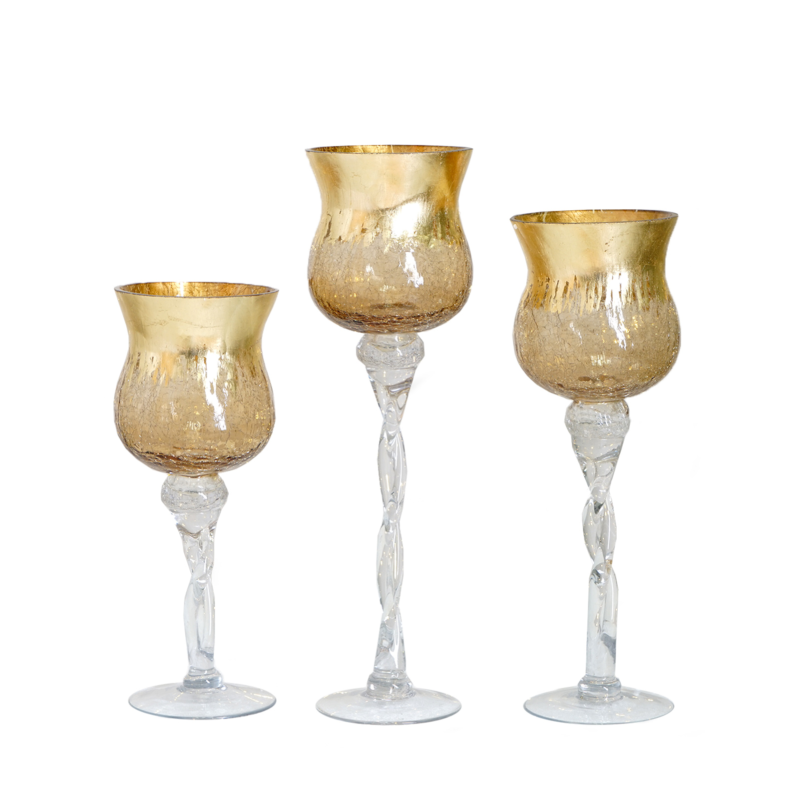 3 Pcs 12 14 16 Tall Clear Gold Glass Hurricane Candle Holders Wedding Vases Ebay