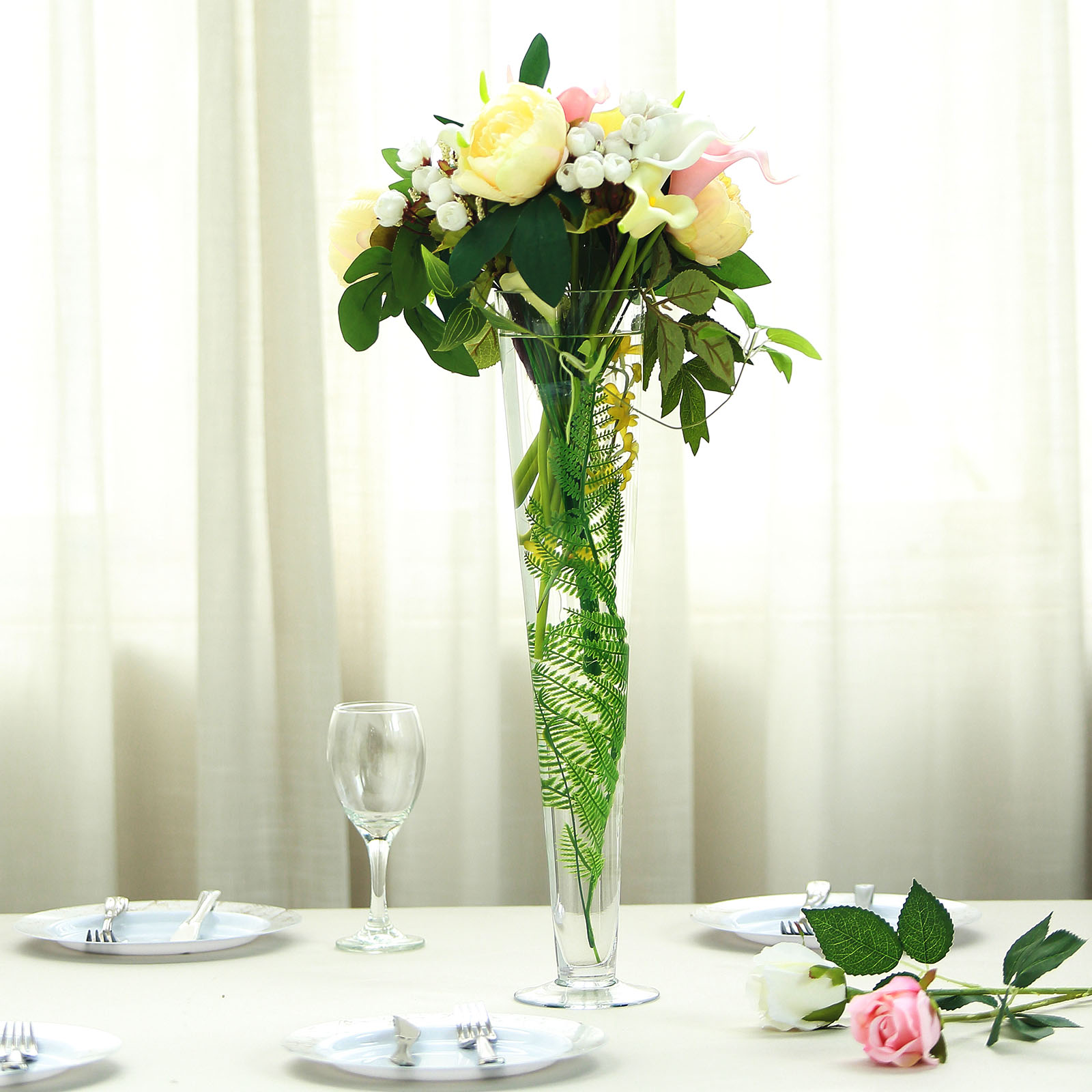 6 Pcs 20 Tall Clear Glass Trumpet Vases Wedding Party