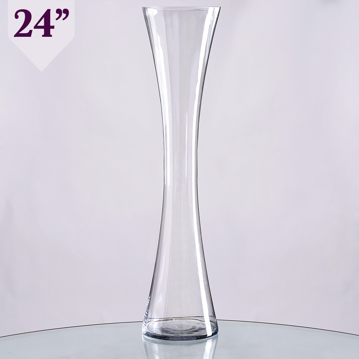"""Wedding Flower Vases Wholesale: 24"""" Tall Hourglass Shaped Clear Glass Vases Wedding Party"""