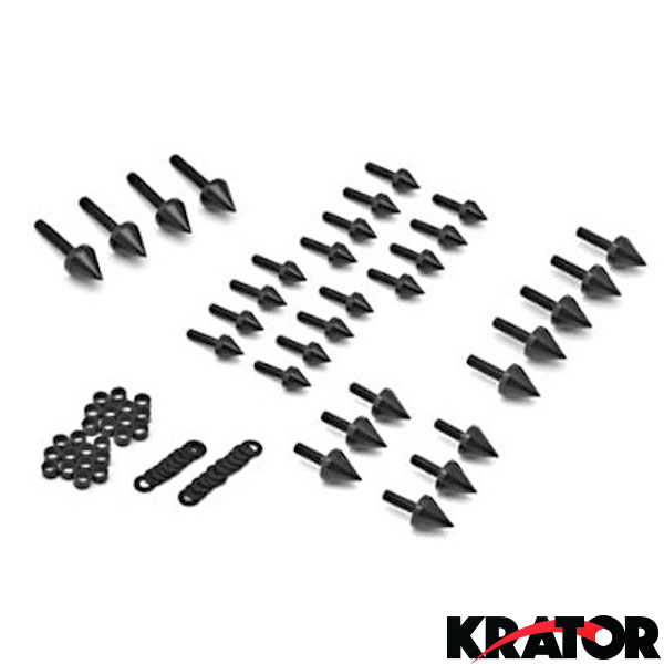 Krator Motorcycle Spike Fairing Bolts Silver Spiked Kit For 2001 Suzuki GSXR 1000