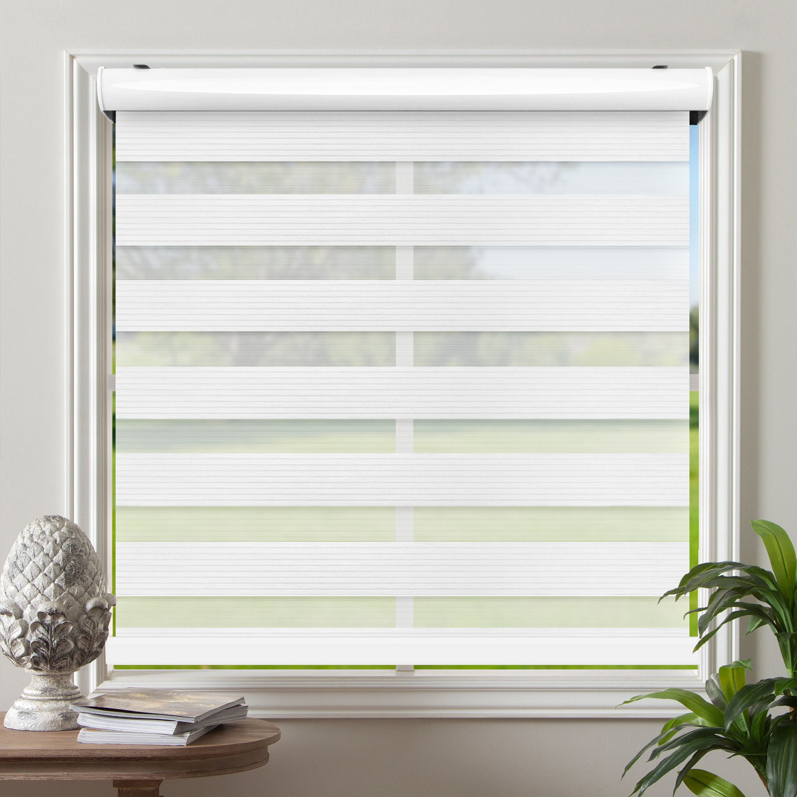 Cordless Window Roller Shades Free Stop Dual Layer Zebra Blinds 50 X72 Ebay