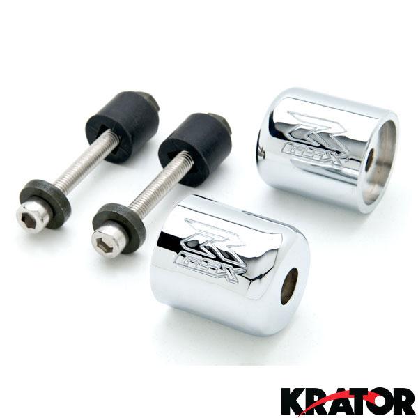 Krator Chrome Bar Ends GSXR Engraved Hand Grip Handlebar For Suzuki Katana 750 1989-2006
