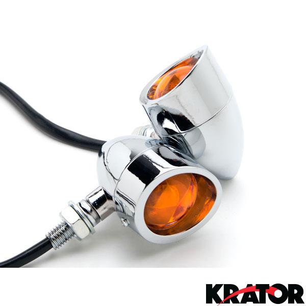 2pcs LED Smoke Motorcycle Turn Signals Indicators Blinkers+Cruiser Keychain