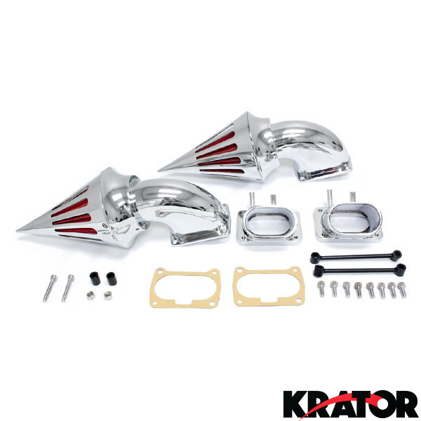 Chrome Dual Spike Air Cleaner Kits Intake Filter Suzuki