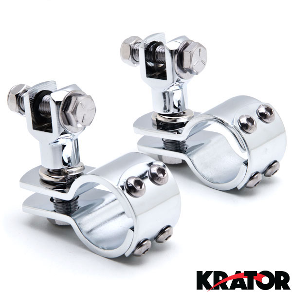 Pair Chrome Foot Peg Mounts For Harley 1 1 4 Quot Engine Guard