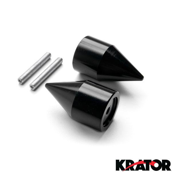 Krator Silver Spike Bar Ends Hand Grip Handlebar End Caps For Suzuki Hayabusa GSX1300R 1999-2012