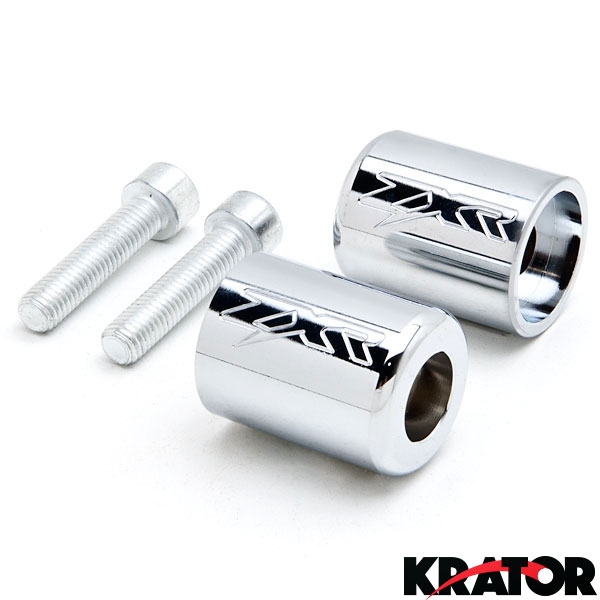 Krator Silver Bar Ends Logo Hand Grip Handlebar End Caps For 2003-2007 Kawasaki ZZR600