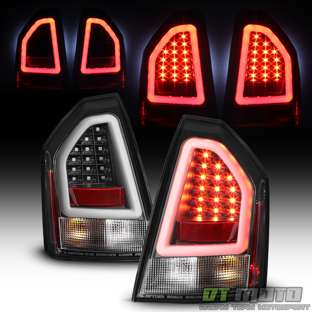 Chrysler 300 2006 Black Led Tail Lights: Black 2005-2007 Chrysler 300C SRT Lumileds LED Pyro Tube