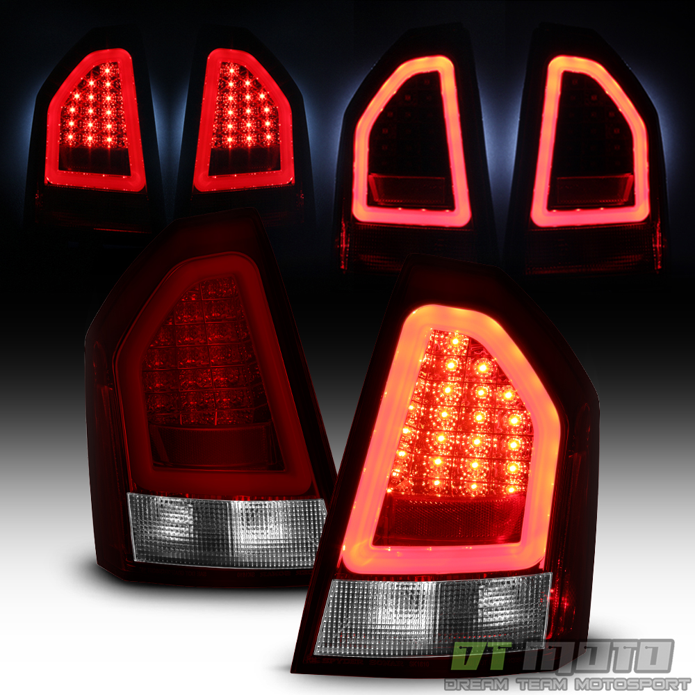 Chrysler 300 2006 Black Led Tail Lights: 2008-2010 Chrysler 300C Lumileds Red Clear LED Pyro Tube