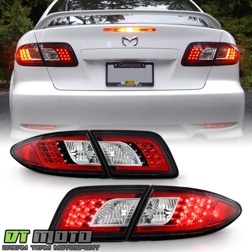 Black 2003-2008 Mazda 6 Mazda6 Lumileds LED Tail Lights Brake Lamps Left+Right