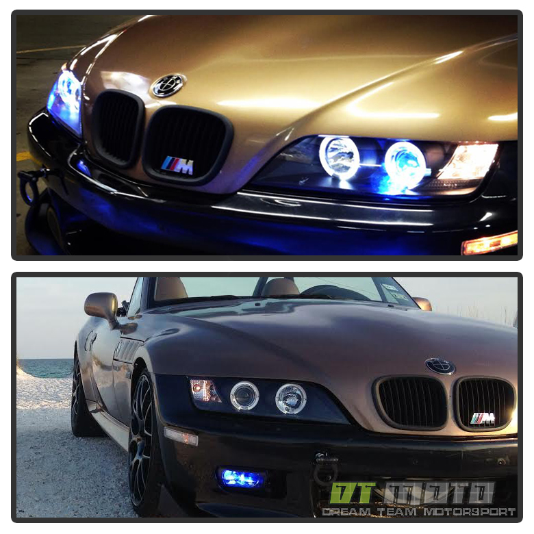 Bmw Z3 Black: Black 1996-2002 BMW Z3 LED Halo Projector Headlights Head
