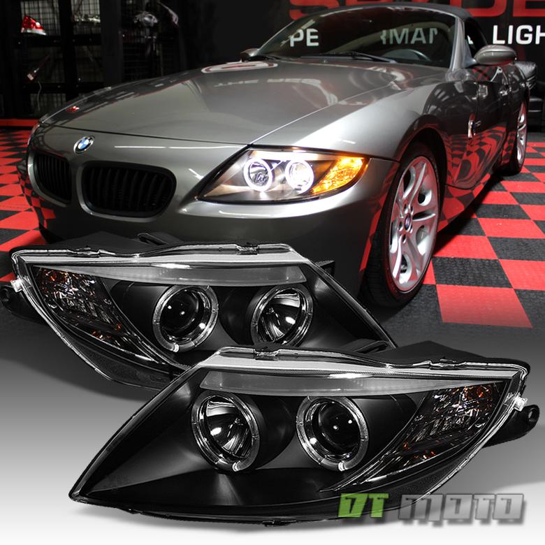 2003 Bmw Z4: Black 2003-2008 BMW Z4 Dual LED Halo Projector Headlights