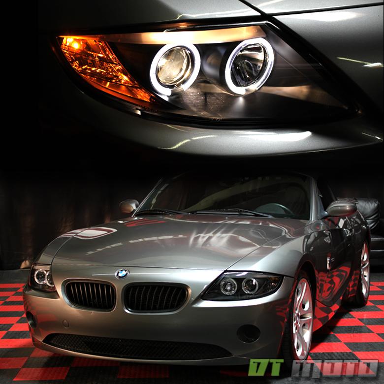 black 2003 2008 bmw z4 dual led halo projector headlights. Black Bedroom Furniture Sets. Home Design Ideas