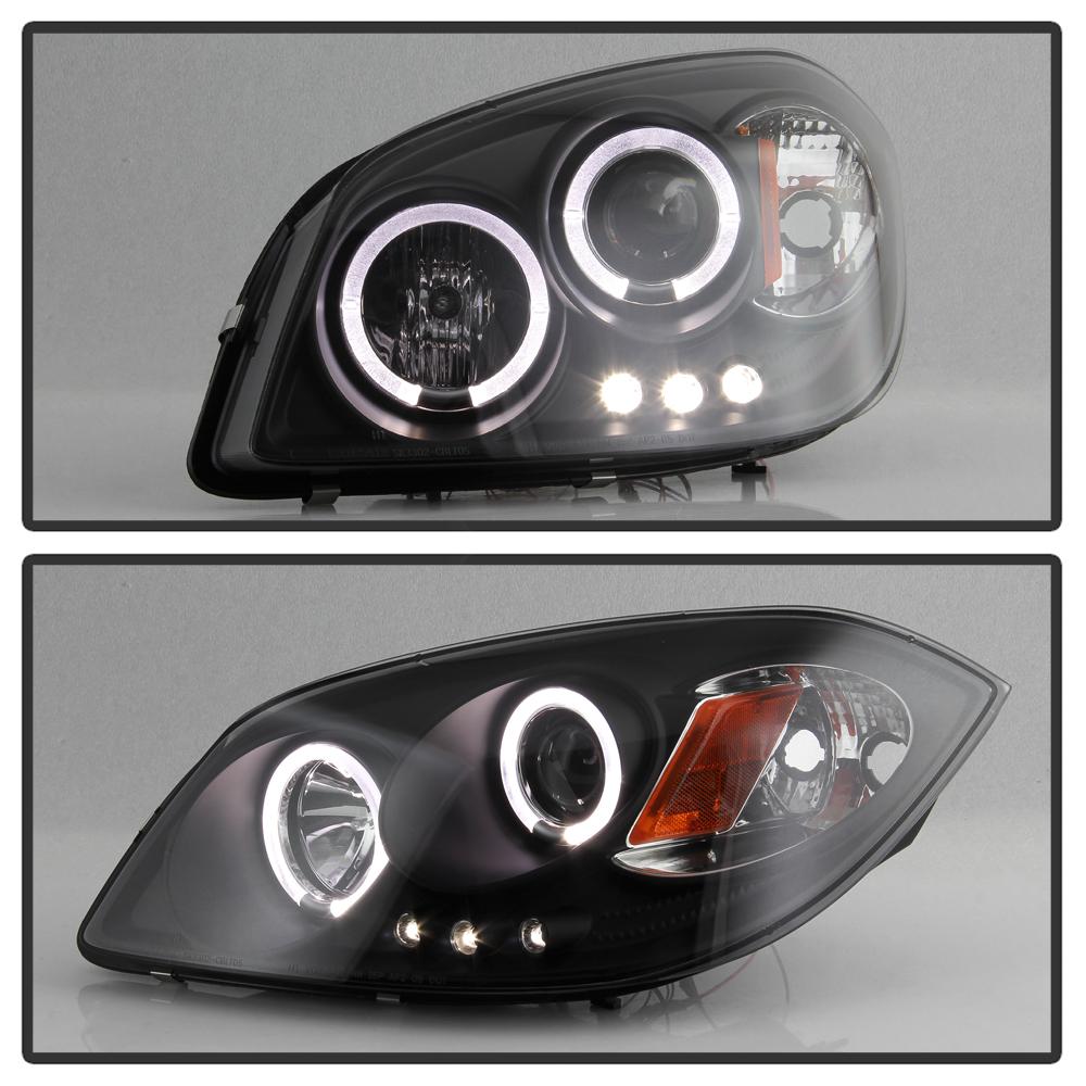 black 2005 2010 chevy cobalt pontiac g5 led halo projector. Black Bedroom Furniture Sets. Home Design Ideas