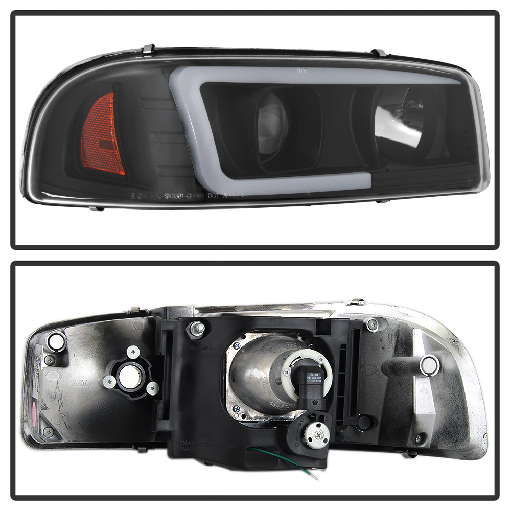 2002 gmc sierra headlight wiring black 1999-2006 gmc sierra yukon denali led tube projector ...