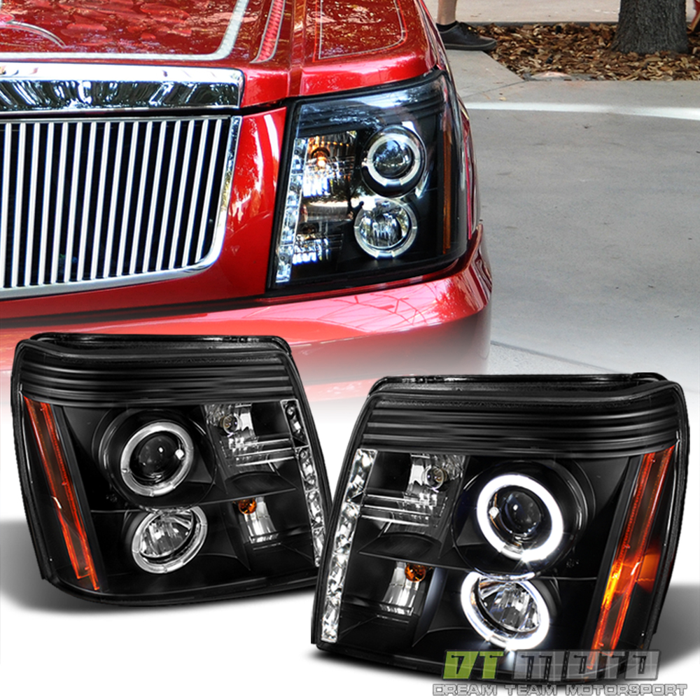 Black 2002 Cadillac Escalade SMD Halo Projector Headlights