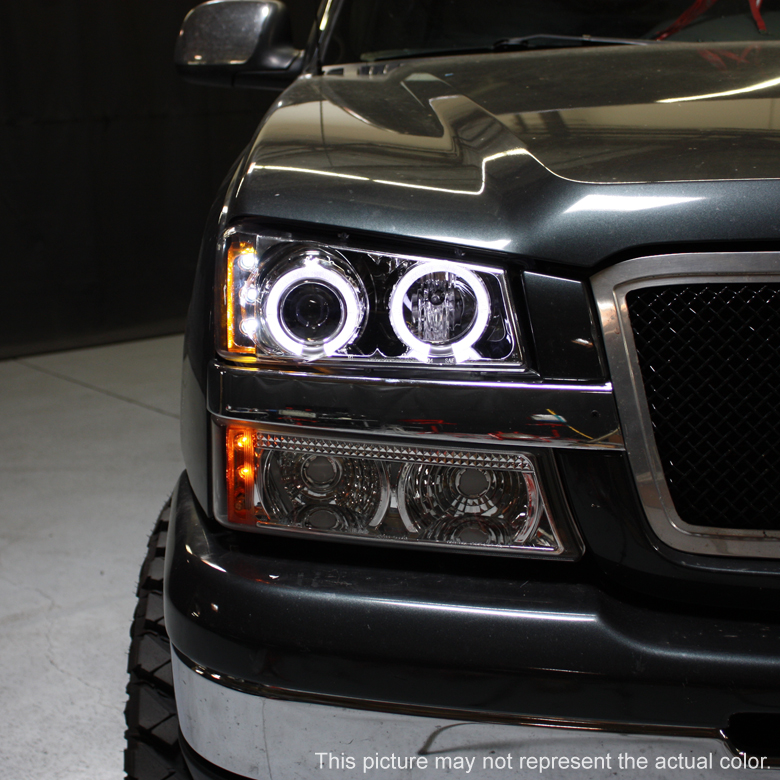 03 06 Silverado Dual Halo Projector Led Headlights Led