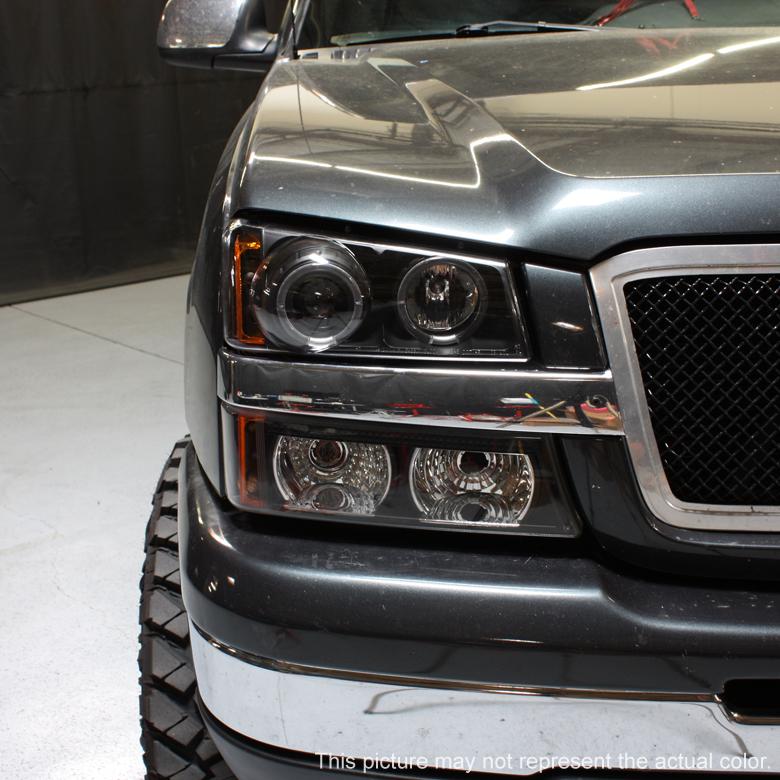 03 06 Chevy Silverado Led Twin Halo Projector Black Head Lights