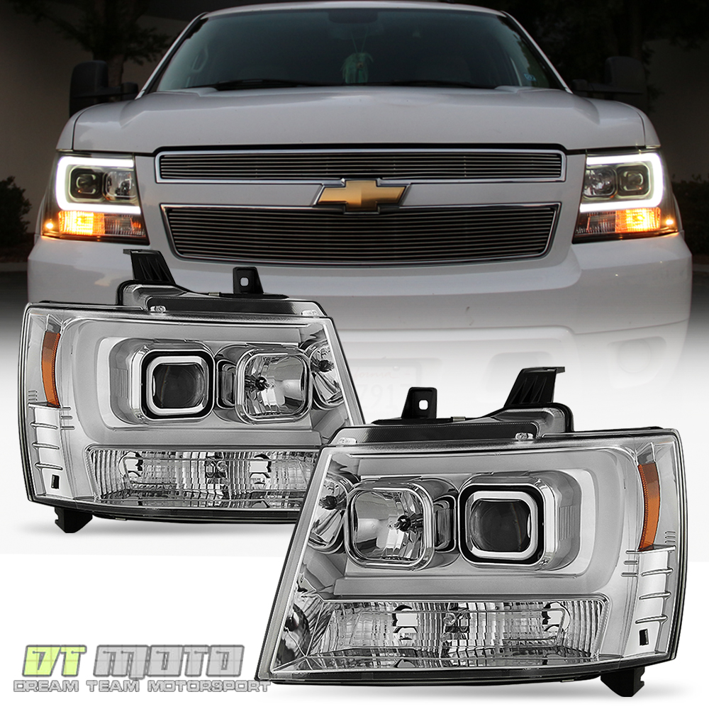 2007-2014 Chevy Suburban Tahoe Avalanche [LED Tube DRL] Projector ...