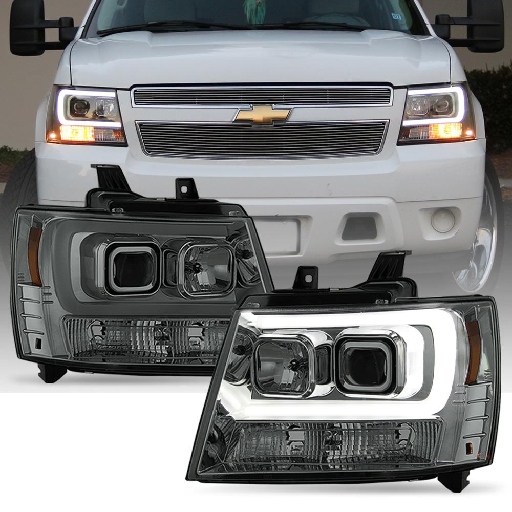 Brightest Led Headlights >> 2007-2014 Chevy Suburban Tahoe Avalanche LED DRL Tube Projector Headlights Smoke | eBay