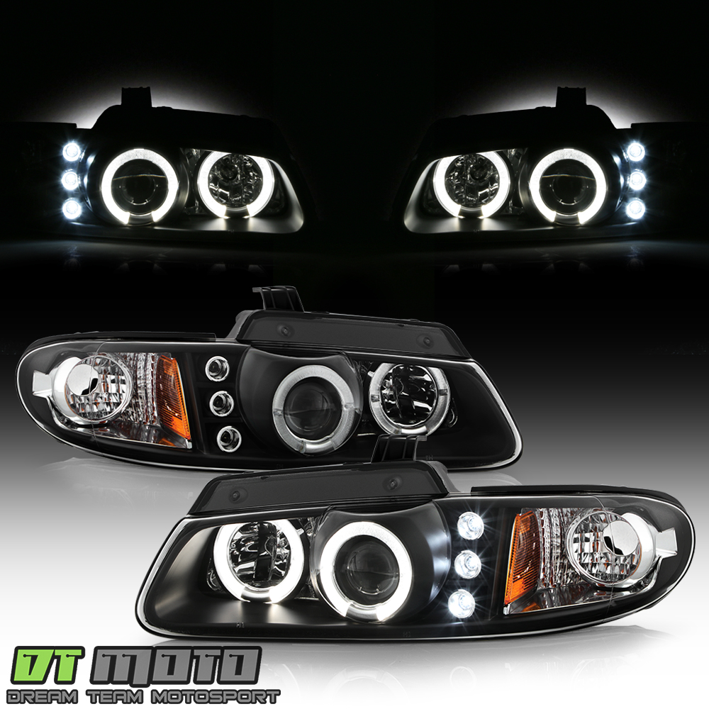 Black 96-00 Caravan//Town /& Country//Voyager Dual Halo Projector Led Headlights