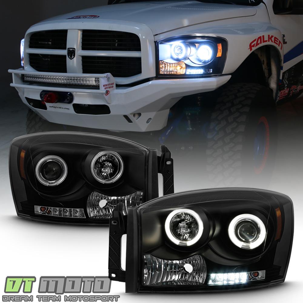 2006-2008 Dodge RAM 1500 CCFL Smoke Projector LED Halo Headlight HeadLamps