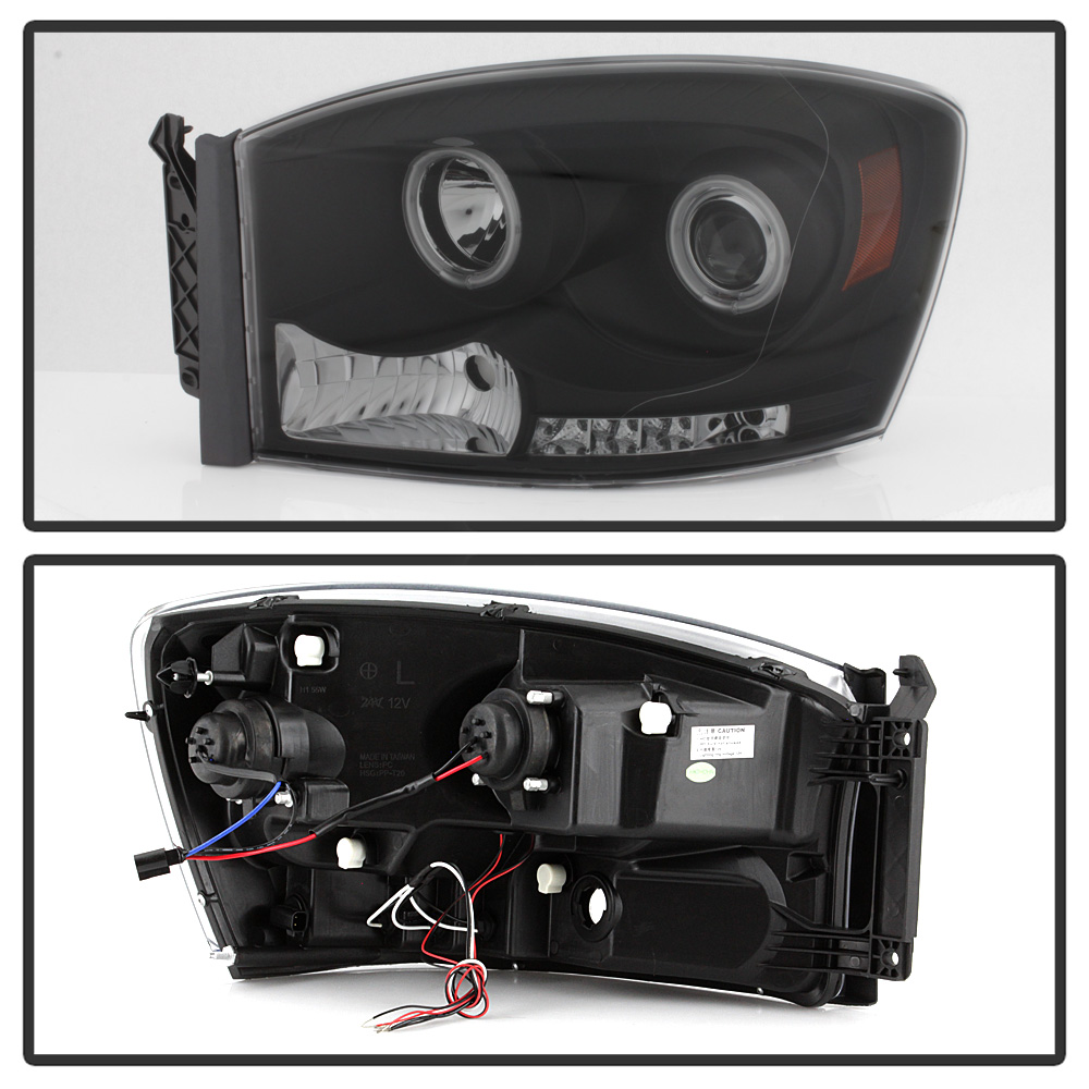Black 2006-2008 Dodge Ram LED Halo Projector Headlights