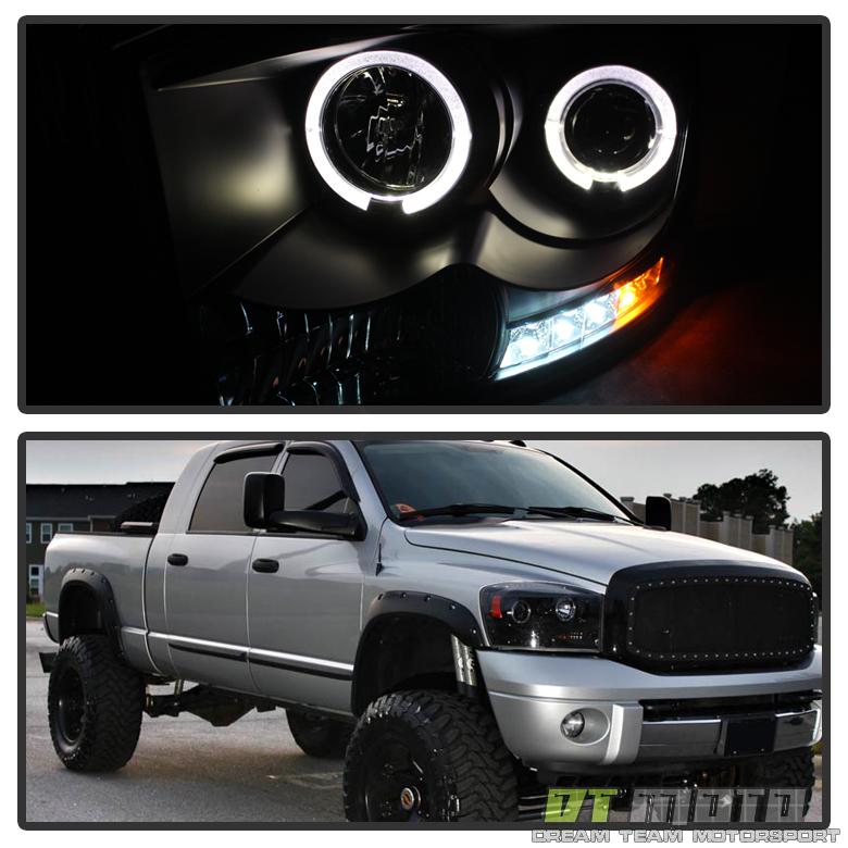 2006 2009 Dodge Ram 1500 Sinister Black 06 08 Ram 2500: Black 2006-2008 Dodge Ram LED Halo Projector Headlights