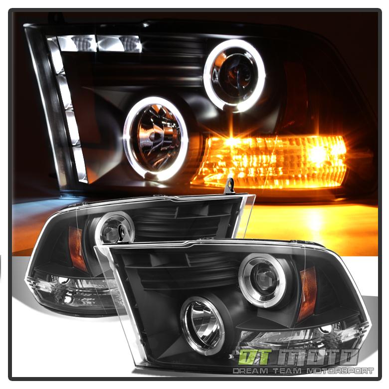 Black 2009 2017 Dodge Ram Led Halo Projector Headlights