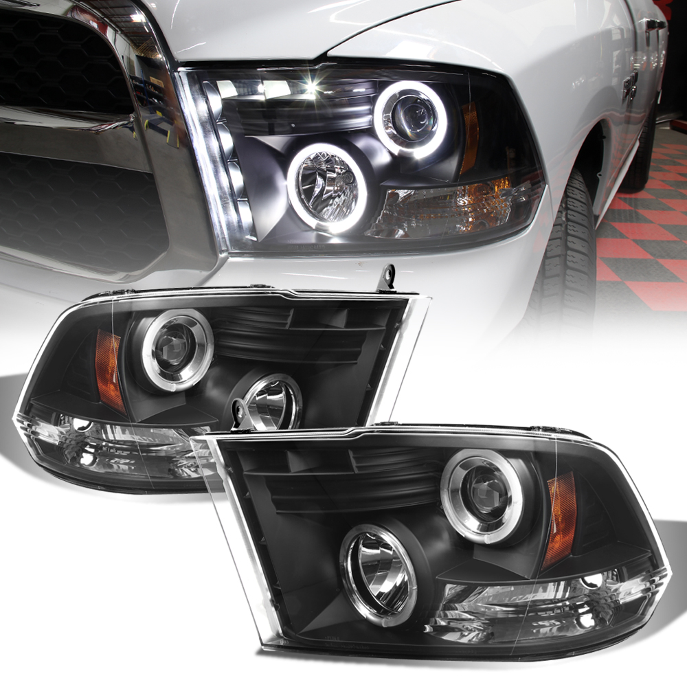 black 2009 2018 dodge ram led halo projector headlights. Black Bedroom Furniture Sets. Home Design Ideas