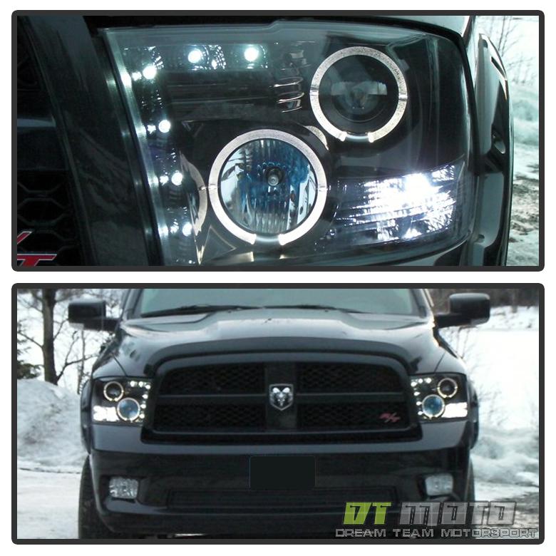 Black 2009-2018 Dodge Ram LED Halo Projector Headlights ...