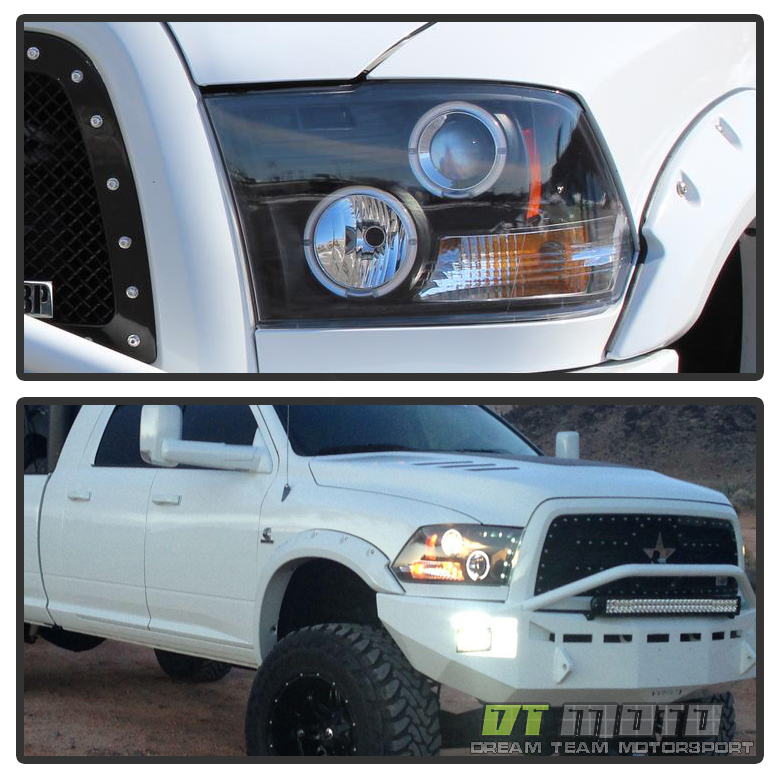 2011 Ram 1500 Regular Cab Transmission: Black 2009-2017 Dodge Ram LED Halo Projector Headlights